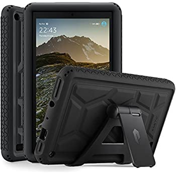 Poetic TurtleSkin Fire 7 2017 Rugged Case with Portable Tablet Stand Heavy Duty Protection Silicone and Sound-Amplification feature Cover for All-New Amazon Fire 7 (7th Generation,2017 Release) Black