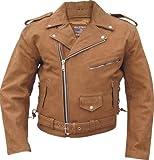 Men's BROWN PREMIUM BUFFALO Leather Motorcycle Biker Jack...