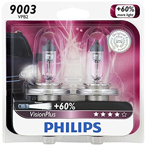 Philips 9003 VisionPlus Upgrade Headlight Bulb, Pack of 2 (Headlight For A 2002 Honda Civic)