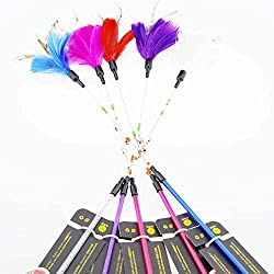Aduck Cat Toys Interactive Feather Teaser Wand Toy with Bells and Beads Feathers Birds Worms Catcher for Cats Kitten Random Color (1pc)