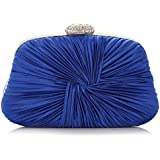 Ladies Vintage Satin Evening Bag Party Wedding Handbag Clutches Bag (Royalblue)