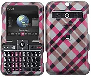 C&E Cricket MSGM8 Phone Protector Case with Optional Belt Clip - Non-Retail Packaging - Hot Pink Plaid