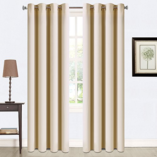 Balichun 2 Panles Blackout Curtains Thermal Insulated Grommets Drapes for Bedroom/ Living Room 52 by 84 Inch Beige