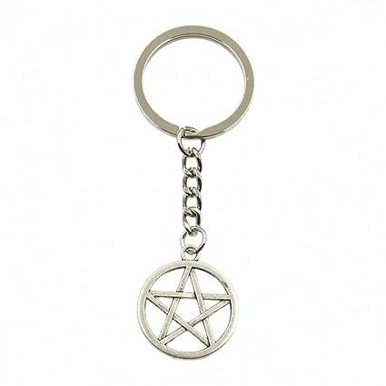 YCEOT Estrella Pentagram Colgante Llavero Cadena de Metal ...