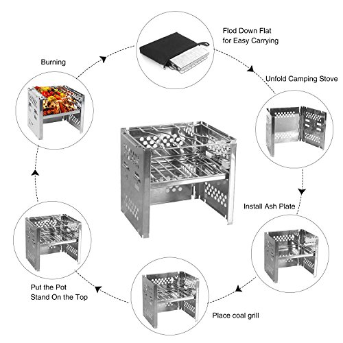 Unigear Camp Stoves Picnic BBQ Cooker/Potable Folding Stainless Stove