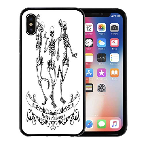 Semtomn Phone Case for Apple iPhone Xs case,Dance Happy Dancing Skeletons on Halloween Contour Graphics Funny Scary for iPhone X Case,Rubber Border Protective Case,Black -