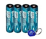 Four Olight 3400mAh Protected Button Top Rechargeable 18650 Batteries for Olight M22 M20S M18 M20X LED Flashlights and More