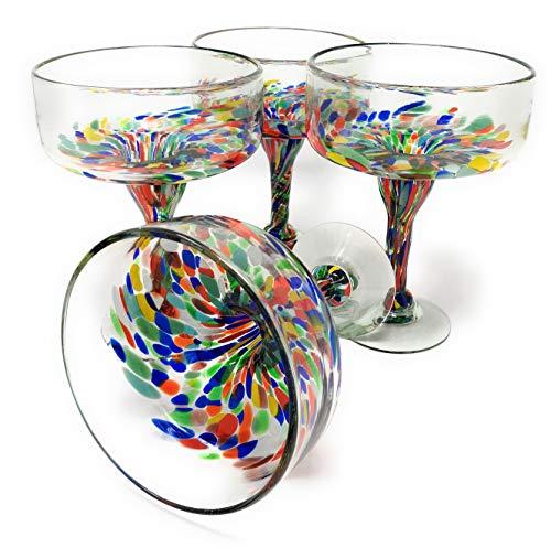 Mexican Hand Blown Glass – Set of 4 Hand Blown Margarita Glasses Confetti Carmen (16 oz)