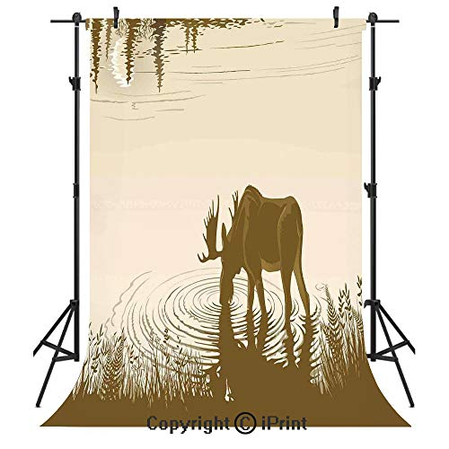 Animal Photography Backdrops,Silhouette of Elk Drinking Water in Lake River Forest Wildlife Scenery Illustration,Birthday Party Seamless Photo Studio Booth Background Banner 6x9ft,Cream -