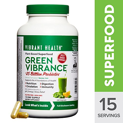Digestive Greens (Vibrant Health - Green Vibrance, Natural Daily Superfood + Probiotics and Digestive Enzymes, 15 Servings (240 Count) (FFP))