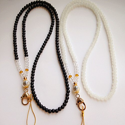 Fashion ID Necklace Crystal Beads Necklace Women Beaded Fashion Lanyard for Keys, ID Badge Card Holder 2 Pack - Fashion Lf
