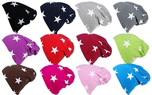 Kinderbeanie Jersey Long Slouch Beanie Süß Trend 2016/2017 in verschiedenen Farben und mit Sternen (Pink)