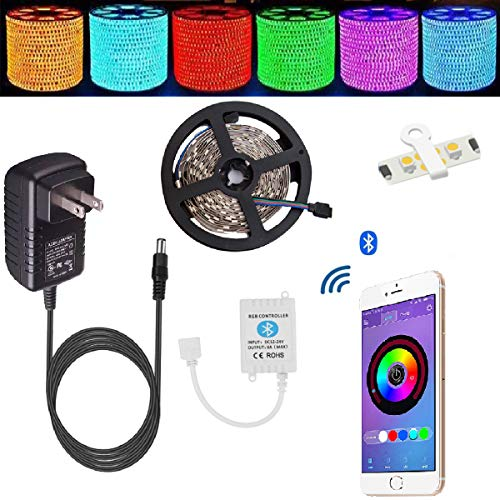 Led strip lights TOPMAX Bluetooth Smartphone Controlled Strip Light Kit RGB 16.4ft/5m 150leds 5050 Non-Waterproof LED Lights with 12V 3A Power Supply Working with Android and IOS - To Connect Wifi To Trying