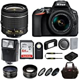 Nikon D5600 DSLR Camera with 18-55mm Lens and 64GB Card + Flash, Batteries + Kit