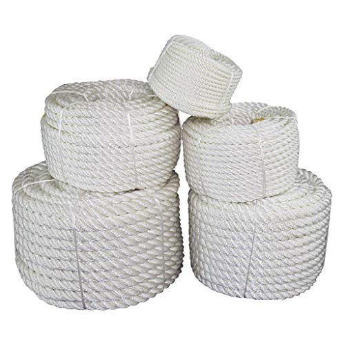 SGT KNOTS Twisted Nylon Rope 1.5 inch Multipurpose Utility Line - Rot, Alkali, Chemical, Weather Resistant - Crafts, DIY Projects, Towing, Dock Lines, Heavy Load Uses (25 ft - White)