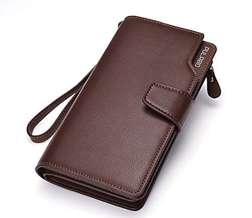 Bussiness Purse Brown Genuine DeLamode Black Zipper Many Men's Card Holder Wallet Leather fw8f0F
