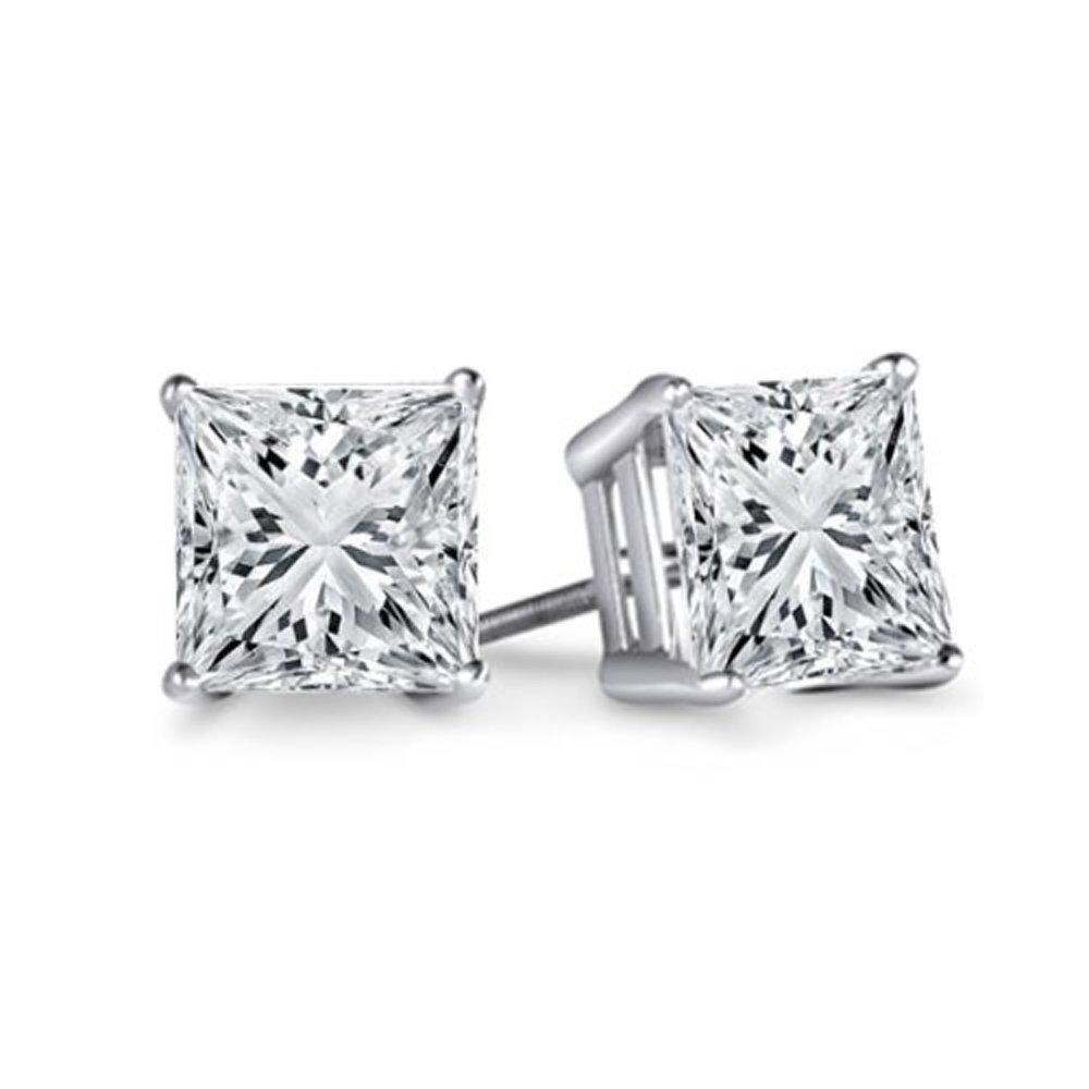 c04c292dc Amazon.com: Dazzlingrock Collection IGI Certified 1.05 Carat (ctw) 14K  Princess Cut White Diamond Ladies Stud Earrings 1 CT, White Gold: Jewelry