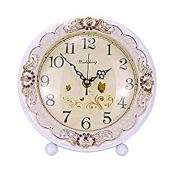 JUSTUP Vintage Table Clock, Retro Non-Ticking European Style Beside Mantle Desk Clock Battery Operated Silent Quartz Movement for Bedroom Living Room Indoor Decor (White)