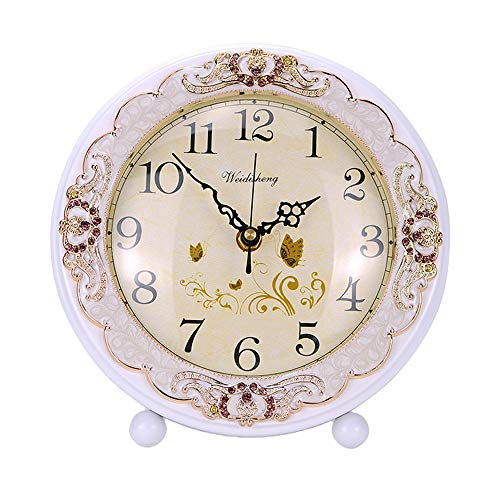 Justup Vintage WoodenTable Clock, Retro Non-Ticking European Style Beside Mantle Desk Clock Battery Operated Silent Quartz Movement for Bedroom Living Room Indoor Decor (White)