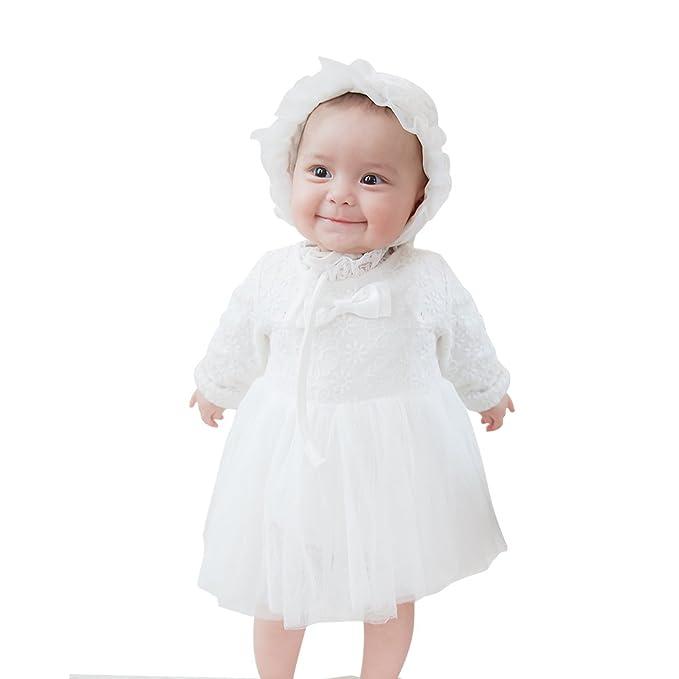 Amazon.com: Mikistory Vestido blanco para bebé, otoño, para ...