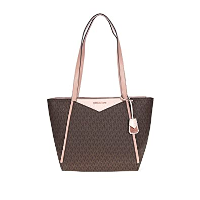 acdd669b4e42d1 Amazon.com: Michael Kors Whitney Medium Signature Logo Tote- Brown/Soft  Pink/Fawn: Shoes
