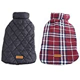 """Bonawen Reversible Plaid Fleece Jacket for Dog with Leash Hole ,Chest 13""""up to 39"""" ,for Extra Large Pets ,Red"""