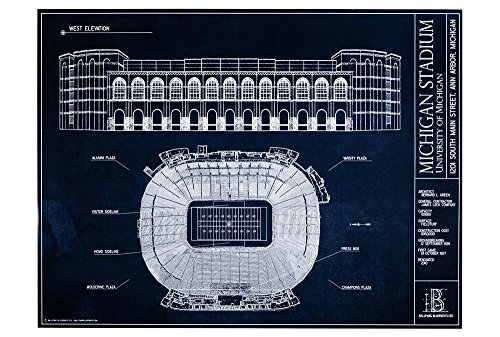 Michigan Stadium Blueprint Style Print (Unframed, 18