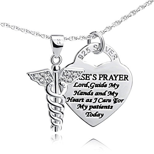 Althrorry S925 Sterling Silver Caduceus Angel Nurse Themed Heart Pendant Necklace, 18
