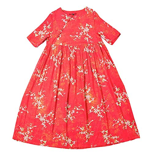 E girl Lose Maxi Cocktail Baumwolle Rot Retro Kleider Party Damen Kurzarm Q32309 Kleid Feiertagskleid ffxrF