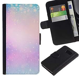 Paccase / Billetera de Cuero Caso del tirón Titular de la tarjeta Carcasa Funda para - blue purple yellow winter snow pink - Samsung Galaxy S6 SM-G920