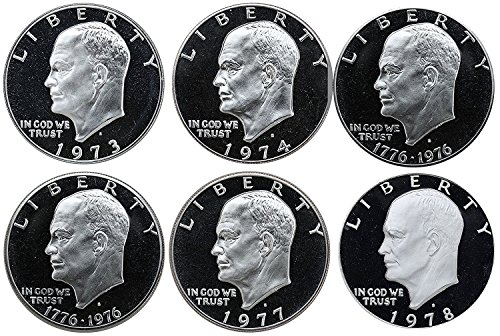 Coin Ike Dollar - 1973 S 1974 1976(T1) 1976(T2) 1977 1978 Eisenhower Ike Dollars Gem Proof Run 6 Coins US Mint Clad Lot Complete Set Proof