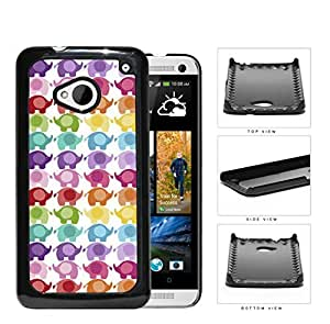 Colorful Mini Baby Elephant Pattern Hard Plastic Snap On Cell Phone Case HTC One M7 by ruishername