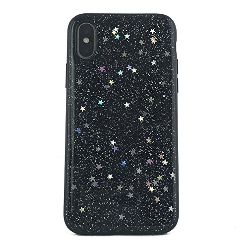 (NCX tech iPhone X Case, Shockproof Anti-Scratch Hybrid Protective Cover with Glitter Star Metallic Foil for iPhone X (Black))