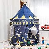 Casa de Juego Infantil Plegable,Juego de Tienda de campaña Grande Mongolia Exterior Interior Bolsa Castillo Juguete casa Chicos Chicas Princess Room Decoration -Azul