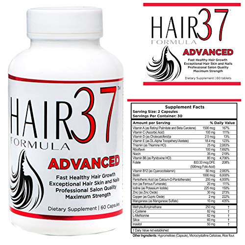 Vitamins Hair 37 Formula (Fast Hair Growth Vitamins Supplements with Biotin Hair Skin and Nails for Women and Hair37 Advanced 1 Bottle MSM Mineral Amino Acids Makes You Beautiful)