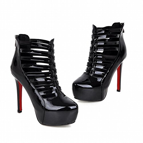 Latasa Dames Sexy Clubwear & Party Strappy Stiletto Hoge Hak Platform Enkellaar Jurk Laarzen Zwart
