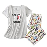 ENJOYNIGHT Women's Sleepwear Tops with Capri Pants Pajama Sets (Medium, Penguin)