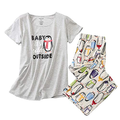 ENJOYNIGHT Women's Sleepwear Tops with Capri Pants Pajama Sets (Large, Penguin)