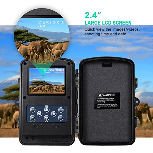 VicTsing Trail Camera, Game and Hunting Wildlife Camera with Infrared Night Version, 2.4 Inch LCD Screen, IP66 Spray Water Protected design, Great for Wildlife Monitoring, Home Security etc