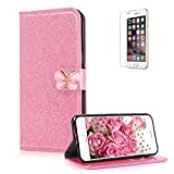 For iPhone 5 5S SE Case [with Free Screen Protector],Funyye Fashion Folio PU Leather Wallet Magnetic Flip Cover and [Cute Bowknot] Design Book Type Shockproof Protection Holster Cover for iPhone 5 5S SE - Pink