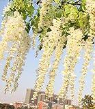 12pezzi Set 105cm Fiori di Glicine finta seta artificiale simulazione fiori Vine ghirlanda di fiori Hanging Vine String per giardino di casa decorazione per feste e matrimoni White