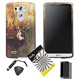 3 items Combo: ITUFFY (TM) Stylus Pen + Case Opener + Design Rubberized Snap on Hard Shell Cover Faceplate Skin Phone Case for LG D830 / D850 / D851 / VS985/ LG G3 (Deer)