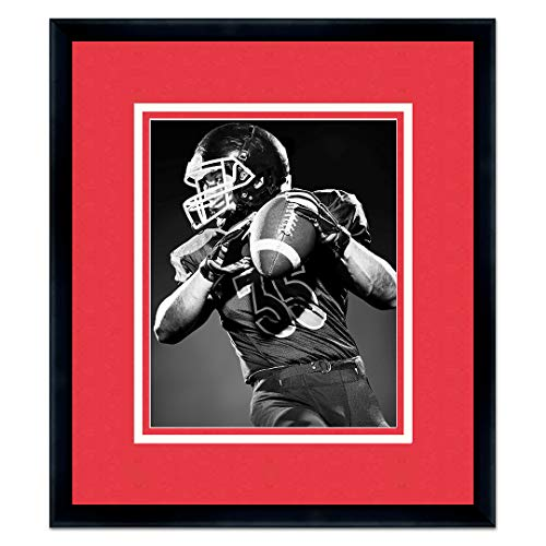 Sports Frames University of Nebraska Black Wood Frame with Cornhuskers Triple Mat Colors - Made to Display 11