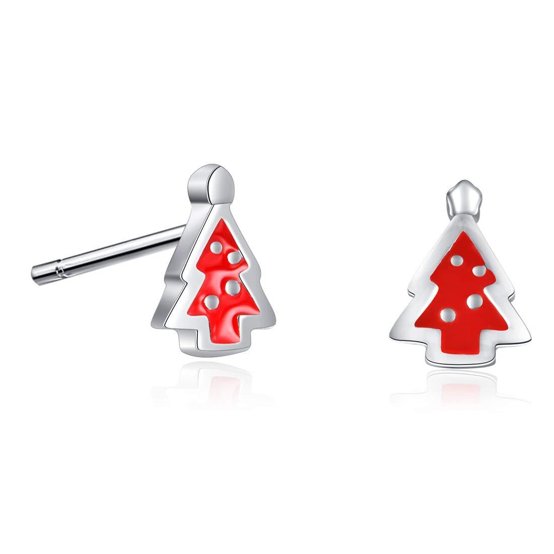b63e817943e14 925 Sterling Silver Hypoallergenic Reindeer Antlers Christmas Tree Stud  Earrings for Kids Women Girls