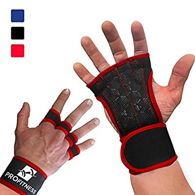 CrossFit Gloves by ProFitness | Non-Slip Palm Silicone Weight lifting Glove to avoid Calluses | Perfect for Cross Training, WODs & Weightlifting | With Wrist Wrap Support, Ideal for both Men & Women