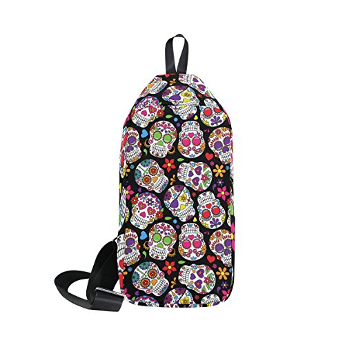 LORVIES Day Of The Dead Sugar Skull Sling Bag Shoulder Chest Cross Body Backpack Lightweight Casual Daypack for Men Women -