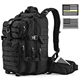 Gelindo Military Tactical/Hydration Backpack for Hunting/Survival with Flag Patches of 2(Black), Black