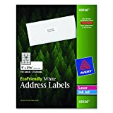 Avery White EcoFriendly Address Labels, 1 x 2.625 Inches, Box of 750 (48160)
