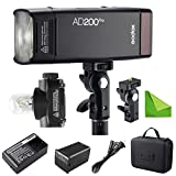 Godox AD200 Pro AD200Pro 200Ws 2.4G Flash Strobe, 1/8000 HSS, 500 Full Power Flashes, 0.01-2.1s Recycling, 2900mAh Battery, Bare Bulb/Speedlite Fresnel Flash Head