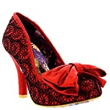 Womens Irregular Choice Mal E Bow High Heel Evening Bow Court Shoes - Red Lace - 8